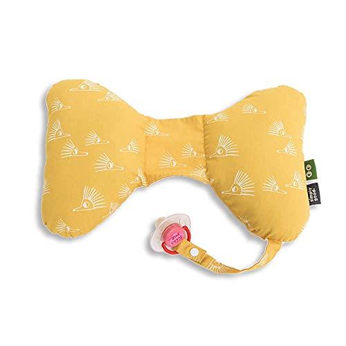 SIMPLY GOOD. Cojín de mariposa para bebé, asiento de coche, soporte para la cabeza para bebés, para edades de 0 a 36 meses, tamaño 13,7 x 8,6 pulgadas (erizos blancos sobre amarillo)