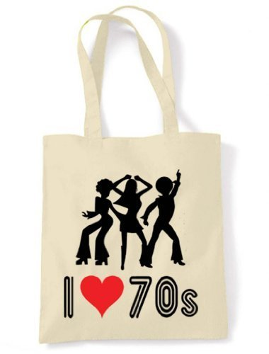 I Love The 70s Tote / Shoulder Bag - Natural Cream - 100% cotton - reusable and strong