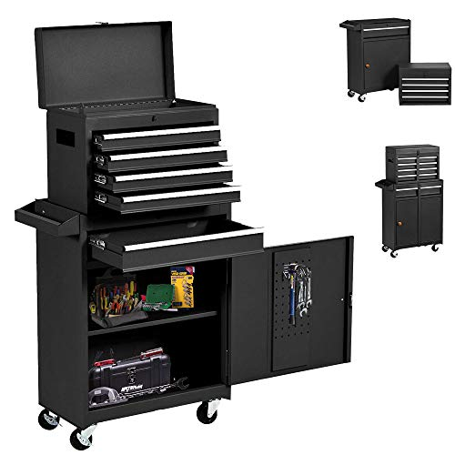 Big Rolling Tool Chest 5-Drawer High Tool Chest and Tool Storage Cabinet, Removable Portable Box with Lock Tool Chest for Garage and Warehouse Tool Chest with 4 Wheels(Black)
