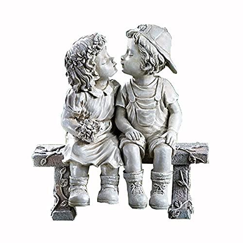 Gartenstatuen Deko Gartenfigur - Jungen und Mädchen küssen Erinnerungen Garten Statue Dekoration Ornamente - Garten Skulptur für Patio, Rasen, Hof Dekoration, Einweihungsparty Geschenk (C)