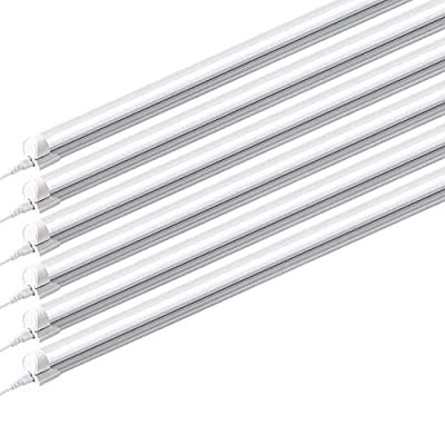 HONGLONG (Pack of 6) 8ft Led Tube Light Fixture, 6500K,44w, 4500lm (Super Bright White) for Garage, Shop, Warehouse, Corded Electric with Built-in ON/Off Switch