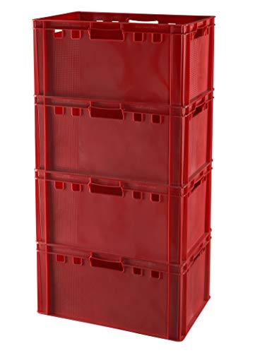 4 Stück E3 Kisten 60x40x30 Fleischkiste Lagerkiste Metzgerkiste in rot
