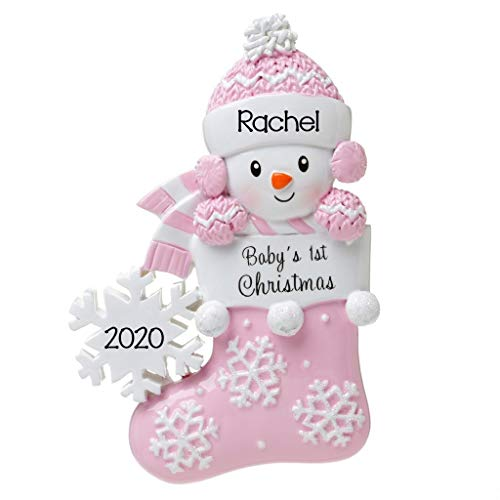 2020 Personalized Ornament Baby's First Christmas Snowbaby in Stocking with Snowflake Christmas Tree Ornament Handwritten Customized Decoration Baby Ornaments-Free Personalization (Pink)