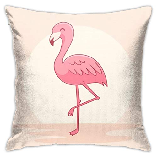 N/A Funda de cojín para silla, decoración interior, funda de almohada de sofá suave y cómodaPink Flamingo
