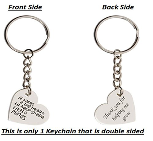Syd & Gabi - It Takes A Big Heart To Help Shape Little Minds / Thank You For Helping Me Grow - Heart Keychain