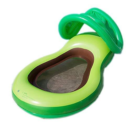Licht Schwimmbad schwimmendes Bett aufblasbare Avocado schwimmende Reihe PVC Erwachsene Wasserspielzeug mit Netz Sonnenliege Wasser Aufblasbare Bett Schwimmen Ring Grüne Luftbetten & Schlauchbett (Far