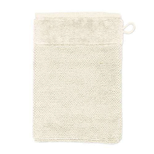 MÖVE Bamboo Luxe Gant de Toilette 15 x 20 cm, Fabriqué en Allemagne, 60% coton / 40% viscose en pulpe de bambou, Ivory (Blanc)