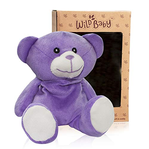 WILD BABY Purple Bear Stuffed Animal - Heatable Microwavable Plush Pal with Aromatherapy Lavender Scent for Kids - 10""