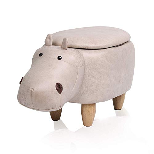 Otoman Papor Taburete Footstools de animales / otomano / asiento con 4 patas de madera de goma y cojín acolchado, taburete de descanso de pie de almacenamiento, Puffes de algodón virgen, para niños ad