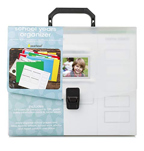Pearhead School Years File Keeper and Preschool - 12th Grade File Folders, Briefcase Document Organizer for School Awards and Records