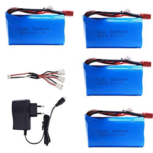 PRsellings Batería lipo de 7,4 V 3000 MAH 18650 para Q46 Wltoys 10428/12428/12423 Piezas de Repuesto de Coche RC con Cargador batería de 7,4 V 2S para Piezas de Juguetes 4BEUC