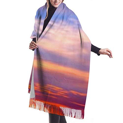 Pashmina Shawls and Wraps Scarf, Classic Cashmere Feel Unisex Winter Scarf, Amazing Sunset Sunrise Silhouette Tree Africa Long Large Warm Scarves Wrap Shawl Stole