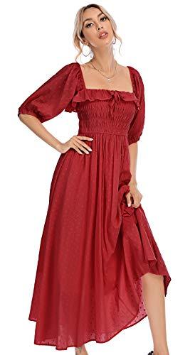 R.Vivimos Women Summer Half Sleeve Cotton Ruffled Vintage Elegant Backless A Line Flowy Long Dresses (X-Large, Burgundy-1)