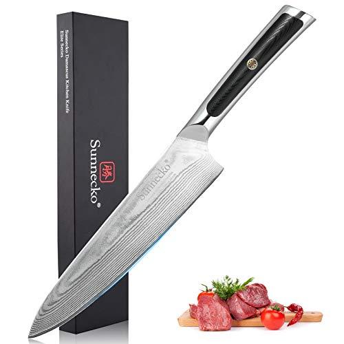 Sunnecko Chefmesser, 20,3 cm, Küchenmesser, Schneidemesser, japanisches Damastmesser, VG10-Ergonomischer G10-Griff, scharfes Messer für Fleisch und Gemüse, Elite Serie
