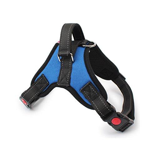 Gililai Harnais réglable pour chien avec poignée sur le dessus - Idéal pour la marche, la randonnée et l'entraînement - 4 couleurs et 4 tailles (M, bleu)