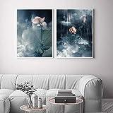 ZGZART Nordic Lotus Canvas Painting Póster Moderno Art Cuadros Chino Decoración Imágenes de Pared para Sala de Estar Decoración de pasillo-50x70cmx2 (Sin Marco)