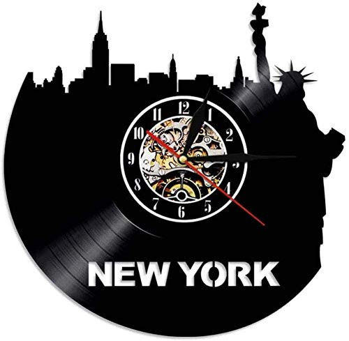 ZZLLL Record Wall Clock New York Skyline Reloj de Pared de Vinilo LP Record Time Clock City Tour Reloj de Arte de Pared Vintage con iluminación de 12 Pulgadas
