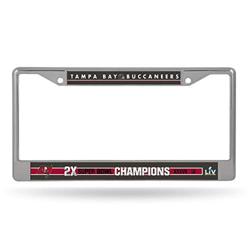 Rico Industries NFL Tampa Bay Buccaneers 2 Time Super Bowl Champs Standard Chrome License Plate Frame