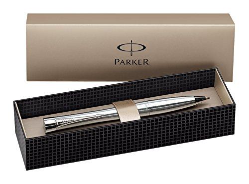 Parker S0767120 Urban-Kugelschreiber (Metro metallic mit Chromverzierungen, blaue Tinte)