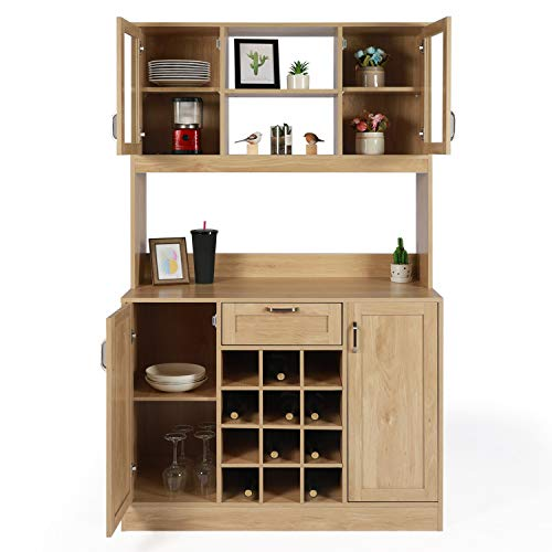 OKL Kitchen Pantry Storage Cabinet Microwave/Storage Cabinet and Hutch with Glass Door, Open Shelf, Countertop, Kitchen Buffet Cabinet with Wine Rack Drawer for Home Hallway