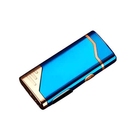 Personalized Lighter Custom Photo Lighter USB Rechargeable Arc Lighter Fingerprint Sensor Lighter Best Gift for Men(Blue-Single Side 72 * 32 * 12mm/2.8 * 1.2 * 0.4 in)