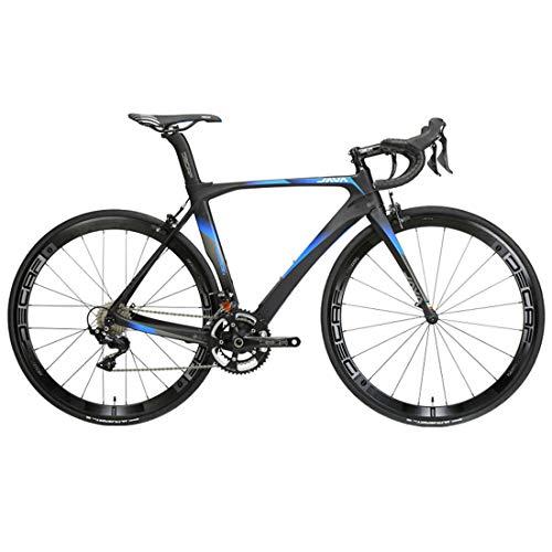 MICAKO Bicicleta de Fibra de Carbono - Bicicleta de Carretera 700C de Fibra de Carbono con Sistema de Cambio Shimano 105/R7000-22 Velocidad, neumáticos 46/48/50/52cm y Freno Doble V