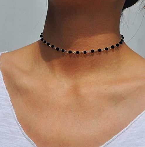Yean Collier ras du cou bohème avec pendentif en cristal pour femmes et filles (Noir)