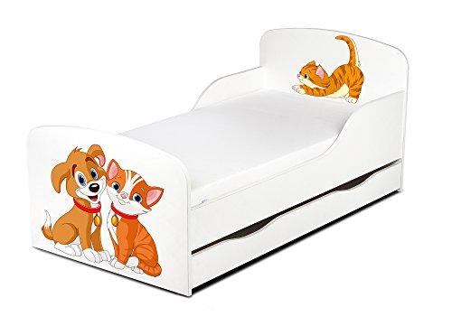 Leomark Einzelbett aus Holz - Katze und Hund - Kinderbett mit Schubladen für Bettwäsche, Stauraum, Holzbett mit Matratze + Lattenrost, Komplett Set, Liegefläche 70/140 cm, UV-Druck