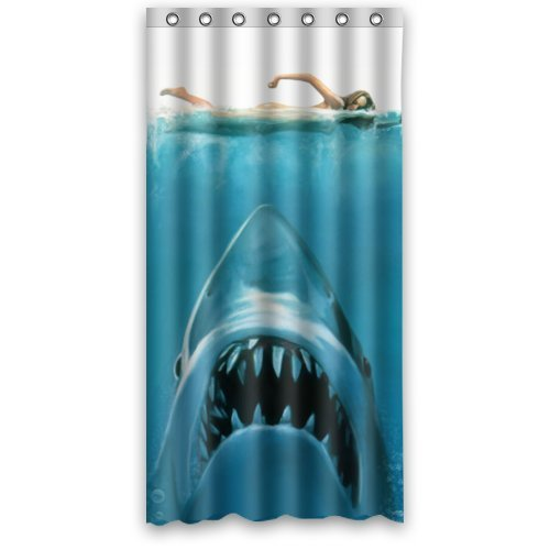 The Big White Shark JAWS Movie Poster - Custom Bathroom Shower Curtains Fabric Polyester Waterproof 36
