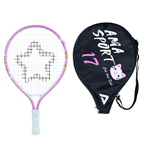 "Kids Tennis Racket for Junior Toddlers Starter Kit 17"" Pink for Girl Toddlers with Shoulder Strap Bag (Baby Pink, 17)"