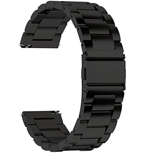 Fullmosa 3 Colores para Correa Metálica de Reloj de Liberación Rápida,  Pulsera Reloj de Acero Inoxidable,  Negro 22mm