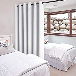 DWCN Patio Sliding Door Curtains - Extra Wide Curtains for Glass Door, Room Divider Blackout Thermal Curtain Grommet Panel with Grommet Top for Bedroom Partition, 6.7ft Wide x 7ft Tall, Greyish White