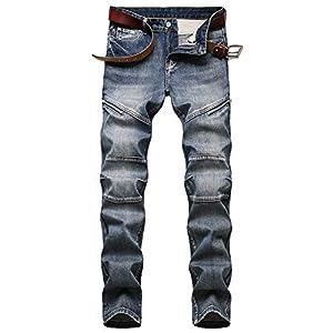 Men's Zipper Jeans Slim Biker Retro Tide Ripped Fashion Stripe Straight-Leg Long Pants