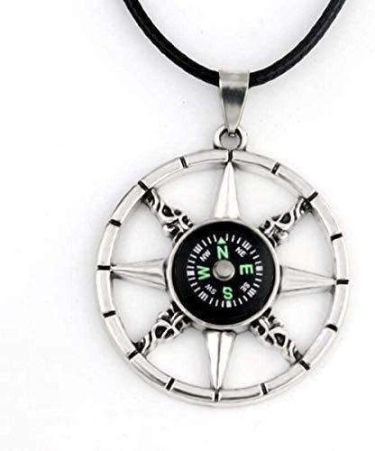 Xianglsp Co.,ltd Collar con Colgante de brújula para Hombre, niño, Regalo, joyería con Cadena de Cuerda de Cuero de 50 cm