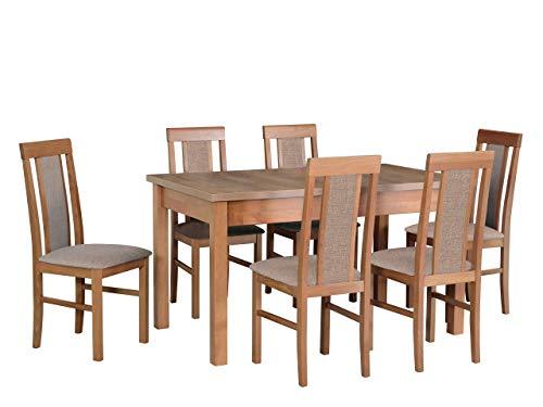 Mirjan24 Esstisch mit 6 Stühlen DM18, Esstischgruppe, Tischgruppe, Sitzgruppe, Esszimmer Set, Esszimmergarnitur, Esstisch Stuhlset, DMXZ (Eiche Lefkas/Eiche Lefkas Inari 23)