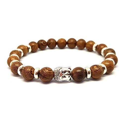 KARDINAL WEIST Buddha Holz Perlen Armband, Yoga Schmuck für Damen und Herren, Ruhe - Anti Stress - Energie (Barezo)