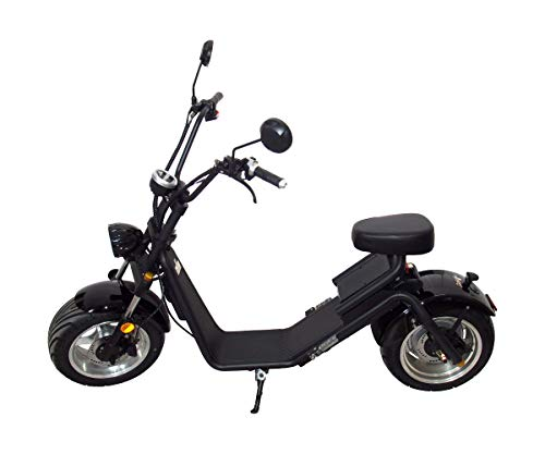 profitec Big Wheel Elektro Scooter Roller Chopper Shiwai 1.2 in schwarz mit Radnabenmotor 1200 Watt - 60 Volt - max. 40km/h und EU-Strassenzulassung