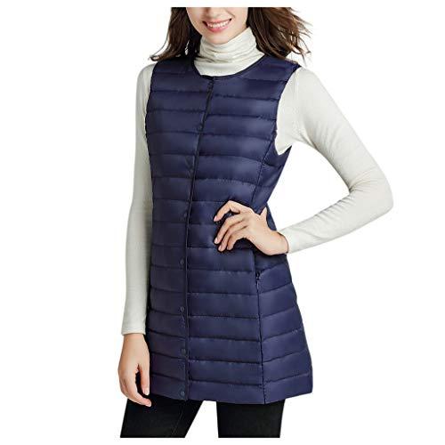 CLOOM Chaleco Acolchado De Plumas Jacket Coat Sin Mangas Chaleco de Ligero Plegable Collar del Soporte Cálido y Confortable Abrigo Larga para Mujer,Talla Grande