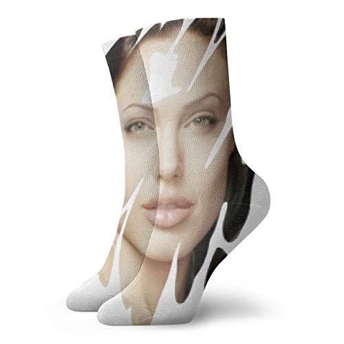 Lsjuee Angelina Jolie Socks Leisure Crew Calcetines para hombres y mujeres
