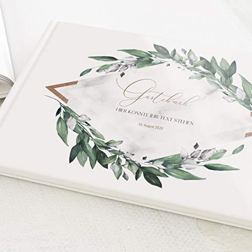 sendmoments Gästebuch, zum Auslegen und Eintragen, Greenery Leaves, personalisiert mit Text,...