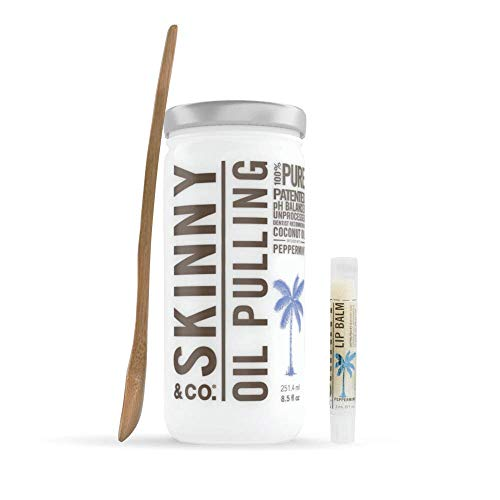 SKINNY & CO. Peppermint Coconut Oil Pulling Kit -- Includes 100% Raw Coconut Oil, Bamboo Spoon, & Coconut Lip Balm-For Healthier Teeth & Gums, Natural Teeth Whitening, Cleaning, Chemical Free, 8.5 oz.