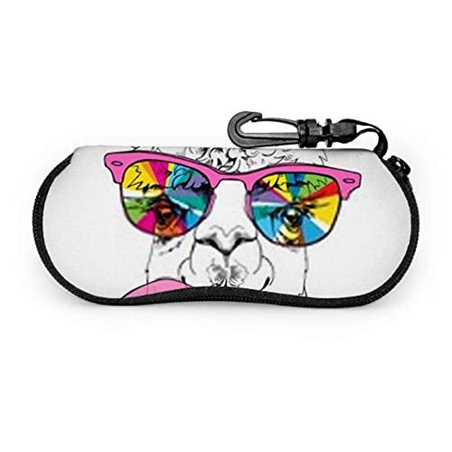 Dedesty Estuche de anteojos, Funny Poster Llama Rainbow Glasses Pink Sunglasses Soft Case Ultra Light Neoprene Zipper Eyeglass Case With Carabiner, Reading Estuche de anteojos