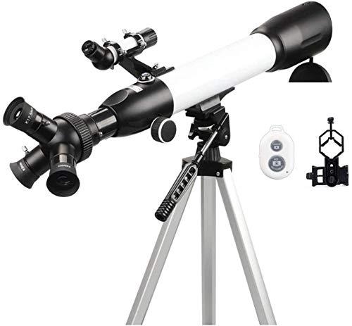 Binoculares Telescopio Telescopio Principiantes, 60 mm Apertura 500 mm BAK4 Prisma FMC Lente Refractor para astronomía Oculares 3 en 1 con Montaje para teléfono Inteligente