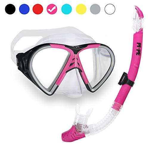 PI-PE Profi Schnorchelset mit Taucherbrille und Dry Schnorchel für Erwachsene - Schwarze Tauchmaske mit Snorkel für Damen und Herren - Anti Fog Glas Schnorchelmaske Taucherset, Rosa