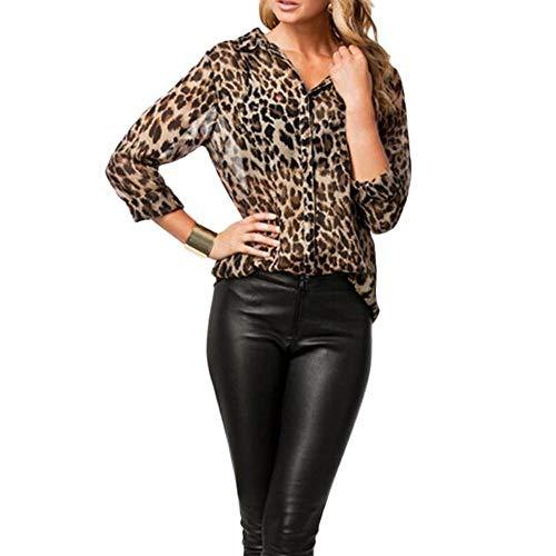 VJGOAL Camisas para Mujer Estampado de Leopardo Casual Camisetas de Manga Larga en Solapa Abotonar Tops de Manga Larga Blusas Gasa Otoño