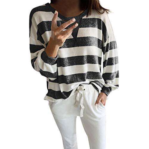 Alwayswin Damen Langarm O-Ausschnitt Sweatshirt Streifen Druck Langarmshirt Beiläufige Mode Lange Hülsen T-Shirt Lose Wild Bluse Tuniken Oberteile Pullover