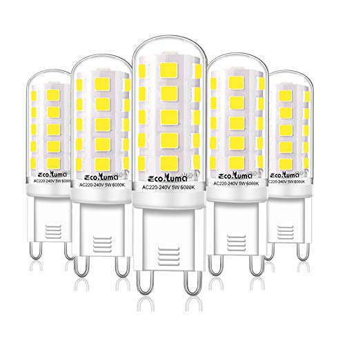 G9 LED Lampen Kaltesweiß 6000K, 5W ersatz für Halogenlampe G9 40W 33W, AC 230V G9 Mini Glühlampe, Kein Flackern 420LM, Nicht Dimmbar 5er Pack