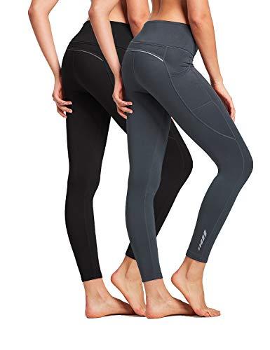 BALEAF Women's Fleece Lined Leggings High Waisted Winter Running Tights Thermal Pocketed Leggings 2 Pack Black/Gray Size M