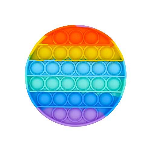 Carnavalife Juguetes Antiestrés Sensoriales Empujar de Silicona para Relajarse Autismo Necesidades Especiales Fidget Toy Antistress Push Pop Pop Bubble Sensorial (Arco Iris Redondo)