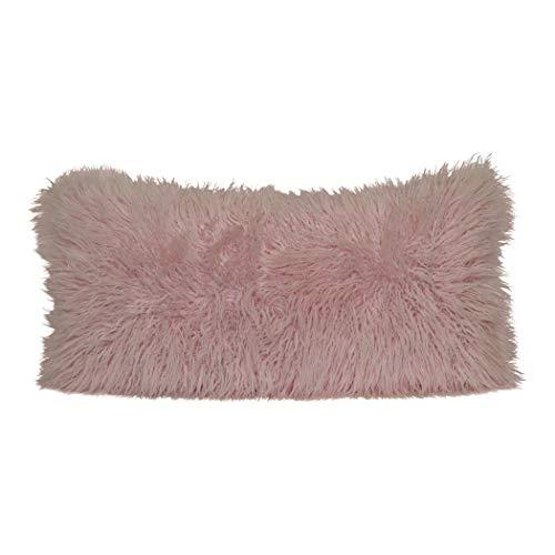 Brentwood Originals Mongolian Fur Pillow, 18x36, Soft Pink
